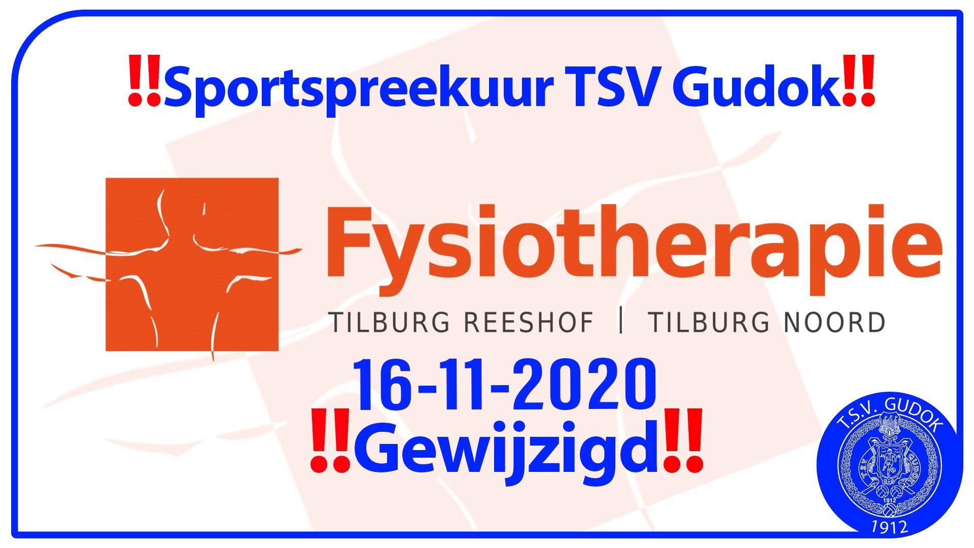 ‼️ Sportspreekuur TSV Gudok gewijzigd ‼️
